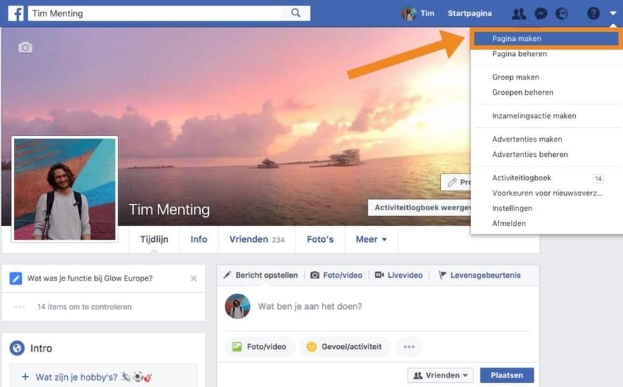 een facebook bedrijfspagina aanmaken