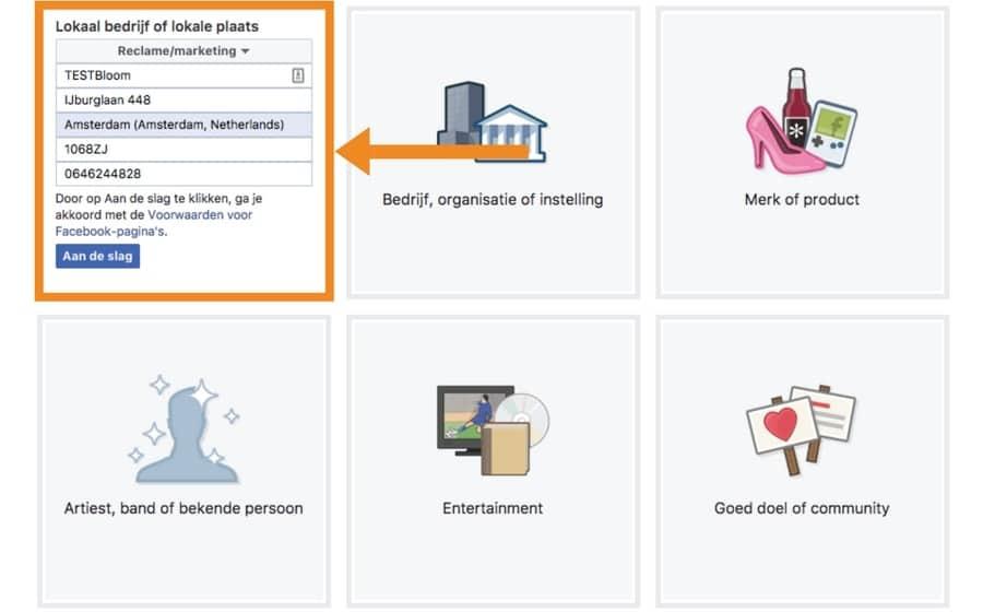 bedrijf gegevens invullen voor facebookpagina