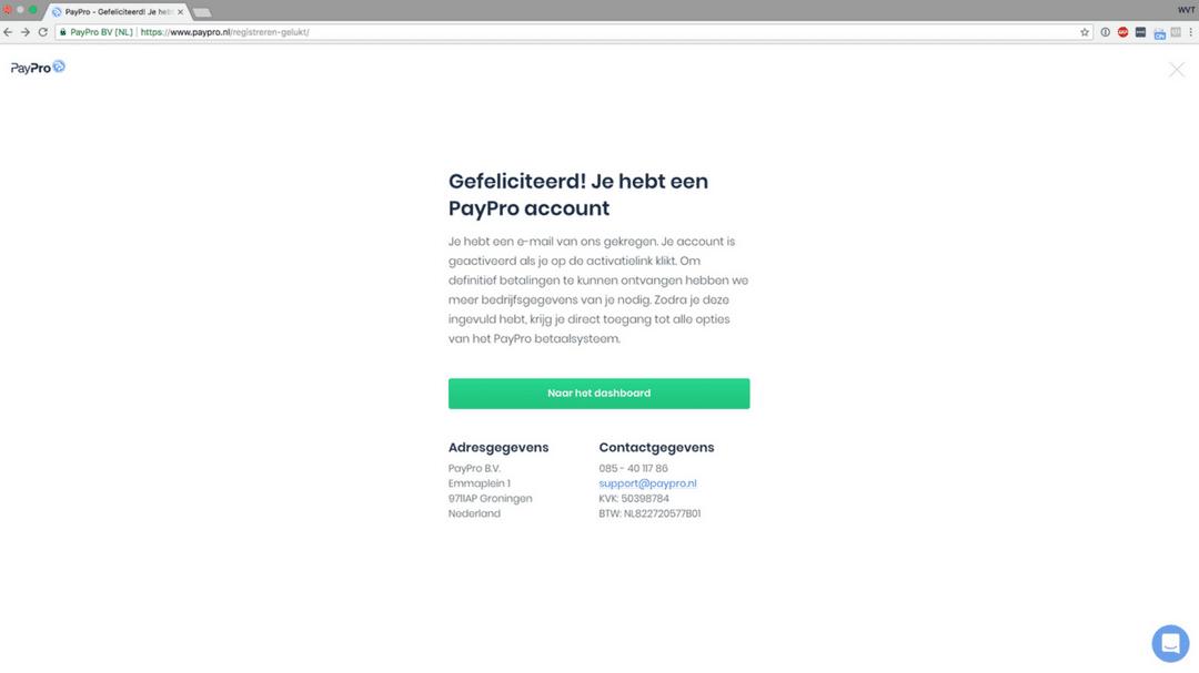 PayPro account aangemaakt