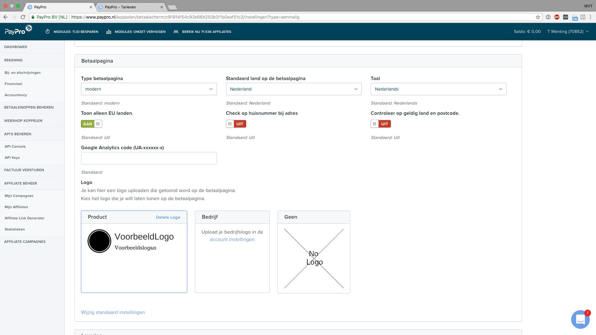PayPro betaalpagina instellingen