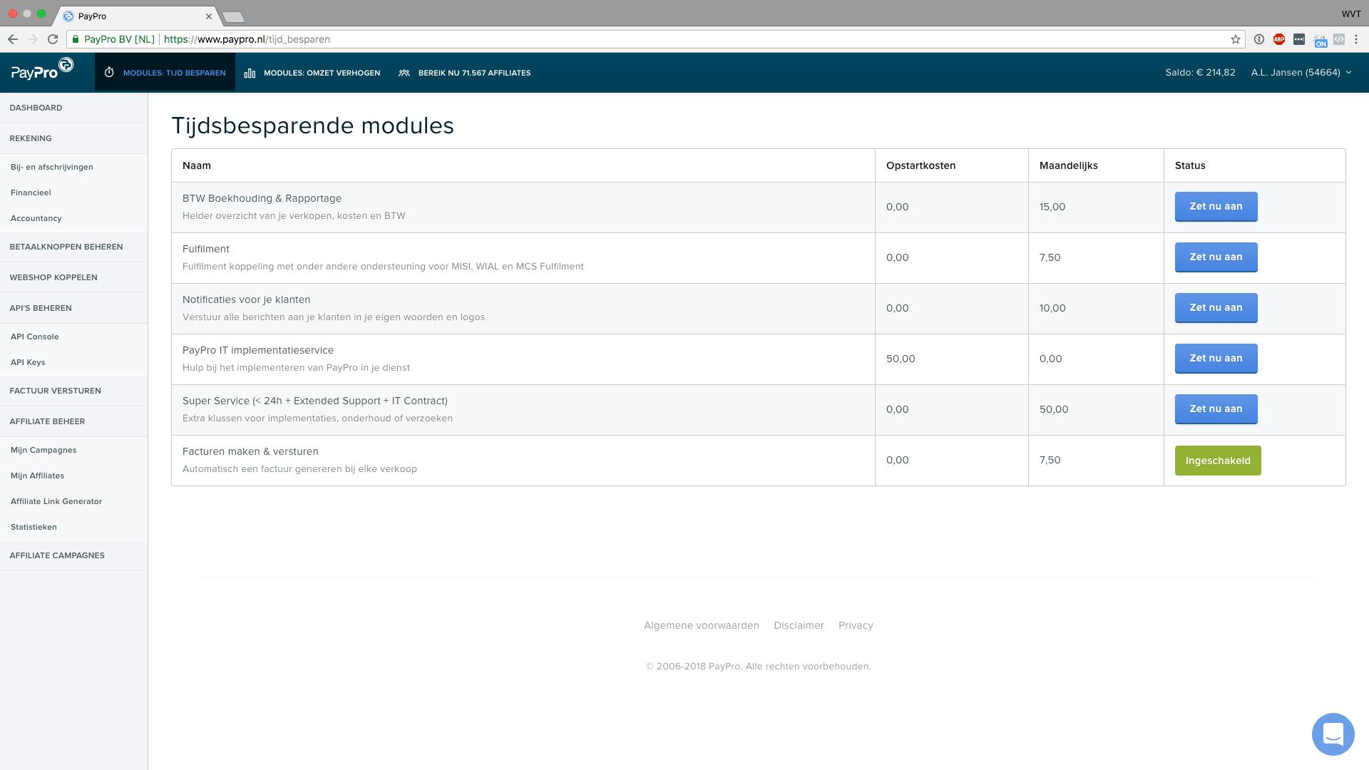 automatisch facturen versturen met paypro