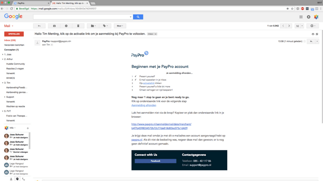 e-mail PayPro bevestigen